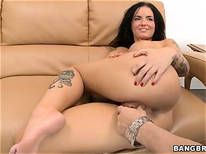 Smoking super hot dark haired Christy Mack riding shaft