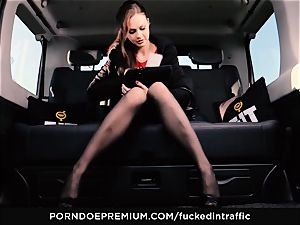 plowed IN TRAFFIC - Footjob and car fuckfest with Tina Kay