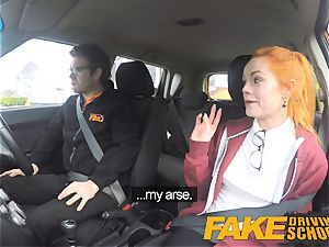 fake Driving college super-cute redhead Ella Hughes plumbs