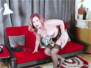 red-hot babe peels off black underwear masturbates in nylon garter