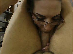 Rocco Siffredi stuffing a pretty dark haired deep in her pussyhole