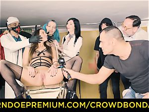 CROWD bondage obedient Amirah Adara very first time domination & submission