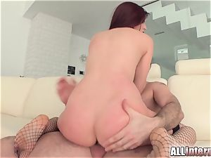 Tall girl Mira's cootchie is romped and packed with jizz