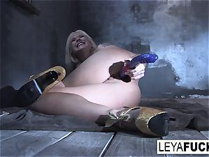 Leya Falcon sticks sex fucktoys in both her fuck-holes