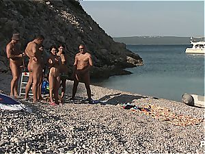 insatiable gang lovemaking tournament on the beach part trio