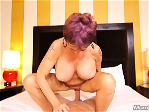 big-chested Russian GILF sploogs all over penis