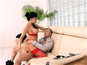 horny secretary drilled on a couch in underwear
