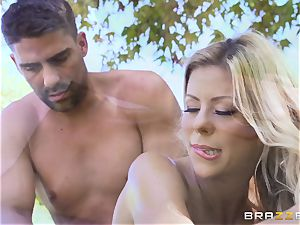Alexis Fawx getting an outdoor pound and rubdown