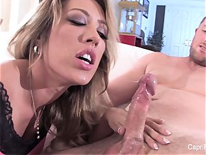 handsome Capri gets a deep pink cigar and a blast on her face