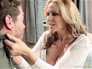 Julia Ann shows her sons friend a superb time