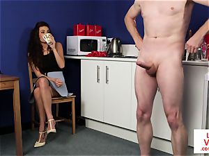 CFNM housewife instructs dude to jerkoff