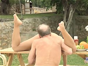 Tighty assets youthfull lady porked granddad and bj'ed wood