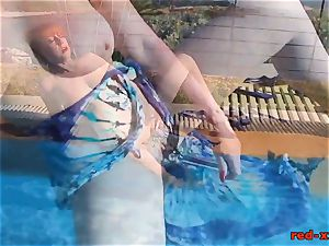 Mature sandy-haired RedXXX nailing and jacking poolside
