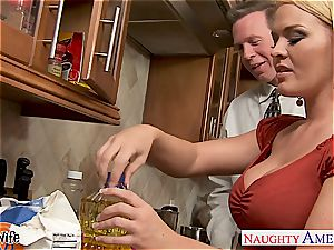Krissy in the kitchen deepthroat and porks until his man sausage gushes