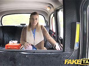 fake cab Nurse in mind-blowing undergarments has car intercourse