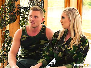 Army stunners Lexi Lowe and Stella Cox get a double helping of cock