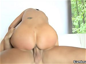 huge-chested Jasmine Jae riding a immense man rod with her hooters out