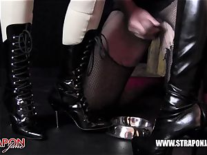 Femdoms latex dominate tag team sissy face fuck belt cock