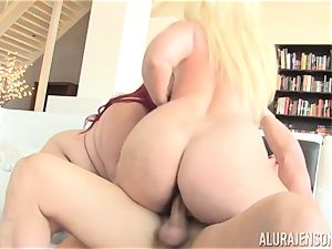 obese Eliza Allure pummeled with the help of super-fucking-hot ash-blonde cougar Alura Jenson