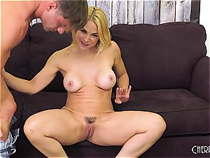 Sarah Vandella pummels on cam and toys her puss to ejaculation