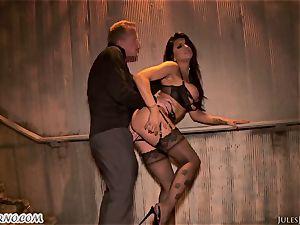 Romi Rain - astounding hot unexperienced porno in the street