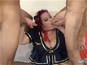 Redheaded plus-size Eliza Allure gets double smashed
