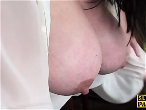Bigtitted buxomy brit subs while humped