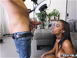 sensuous black teen riding trouser snake