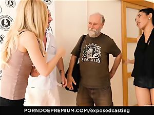 exposed casting - chinese stunner likes hot FFM 3some