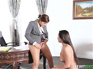 Keisha Grey showing Karlee Grey whose boss