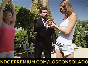LOS CONSOLADORES - hot blondes share firm fuckpole in 3