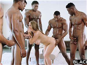 BLACKED Lena Paul very first multiracial gangbang