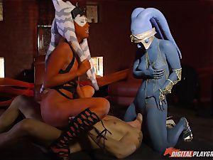 Aliens Eva Lovia and Aria Alexander take on hard prick