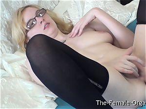 pure Finger kneading masturbating Coed with cute boobs