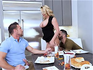 Phoenix Marie gets a super-hot threesome at the dinner table